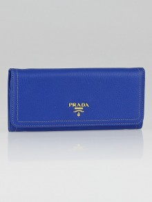 Prada Azzurro Vitello Daino Leather Continental Wallet 1M1132