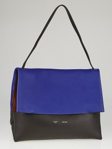 Celine Blue/Black Calfskin Leather and Brown Suede All Soft Shoulder Bag