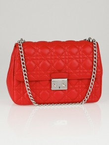 Christian Dior Red Cannage Quilted Lambskin Leather Miss Dior Medium Flap Bag w/ Long Chain