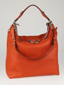 Gucci Orange Pebbled Leather Icon Bit Large Hobo Bag