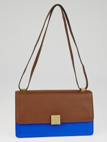 Celine Camel Bicolor Calfskin Leather Medium Case Bag