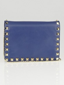Valentino Navy Blue Nappa Leather Rockstud Mini Crossbody Chain Bag
