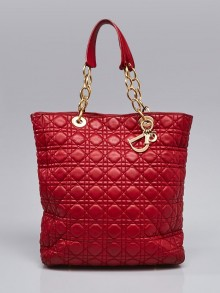 Christian Dior Red Cannage Quilted Lambskin Leather Soft Dior Tote Bag