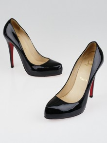 Christian Louboutin Black Patent Leather Rolando 120 Pumps Size 8/38.5