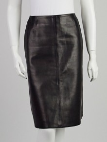 Chanel Black Lambskin Leather A-Line Skirt Size 4/36