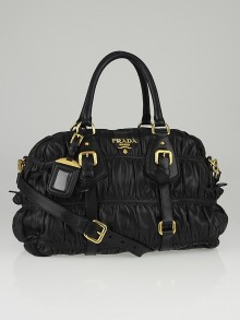 Prada Black Nappa Gauffre Leather Satchel Bag