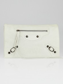 Balenciaga White Lambskin Leather Pochette Clutch Bag