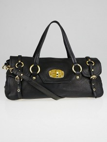 Miu Miu Black Cervo Leather East/West Satchel Bag