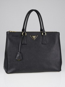 Prada Black Saffiano Lux Leather Double Zip Large Tote Bag BN1786