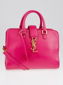 Saint Laurent Lipstick Fuchsia Calfskin Leather Mini Monogram Cabas Bag