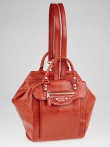 Balenciaga Rouge Ambre Lambskin Leather Giant 12 Silver Convertible Traveler Backpack