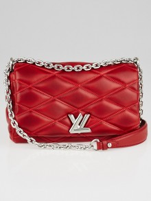 Louis Vuitton Red Quilted Lambskin Leather GO-14 Malletage PM Bag