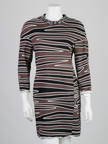 3.1 Phillip Lim Smoke Printed Cotton Beaded Neckline Dress Size L