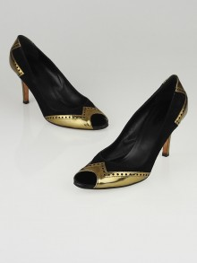 Gucci Black Suede and Gold Miroir Peep Toe Pumps Size 8.5