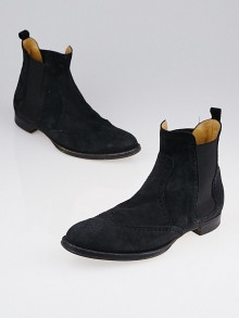 Hermes Black Suede Brighton Low Ankle Boots Size 7.5/38