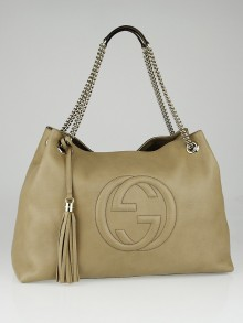 Gucci Beige Pebbled Leather Large Soho Chain Tote Bag
