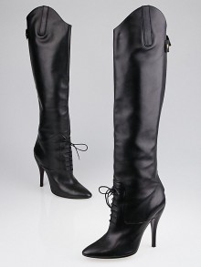 Gucci Black Leather Eliza High Heel Boots Size 9.5/40