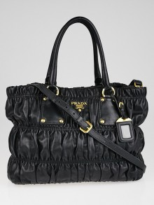 Prada Black Nappa Gaufre Leather Tote Bag
