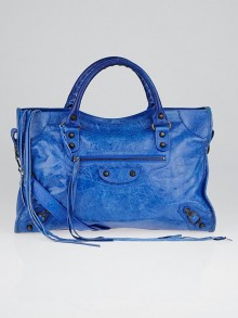 Balenciaga Bleu de France Lambskin Leather Motorcycle City Bag