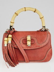 Gucci Pink Pebbled Leather New Bamboo Top Handle Bag