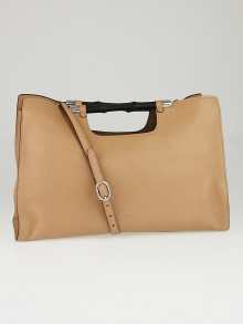 Gucci Beige Pebbled Leather Bamboo Daily Tote Bag