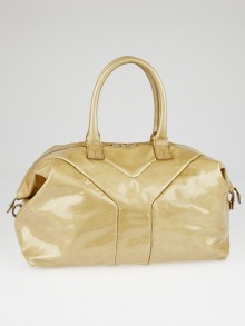 Yves Saint Laurent Gold Patent Leather Easy Y Zip Tote Bag