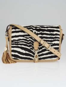 Gucci Beige Leather and Zebra Print Pony Hair Marrakech Messenger Flap Bag