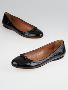 Alaïa Black Patent Leather Bow Flats Size 10/40.5