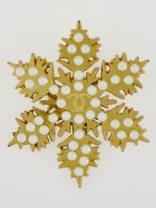 Chanel Goldtone and Faux Pearl Snowflake Brooch