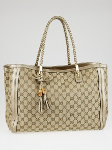 Gucci Beige/Gold GG Canvas Bella Tote Bag