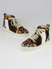 Christian Louboutin Animal Print Testa Di Moro Multicolor Calf Hair Rantus Orlato High-Top Sneakers Size 7/37.5