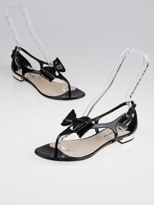 Miu Miu Black Patent Leather Bow Thong Sandals 9/39.5