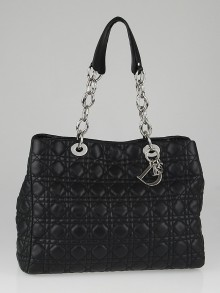 Christian Dior Black Cannage Quilted Lambskin Leather Dior Soft Shopping Tote Bag