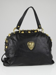 Gucci Black Leather Babouska Heart Dome Satchel Bag