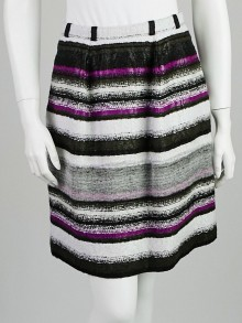 Oscar de la Renta Purple Striped Mohair Blend Pencil Skirt Size 0