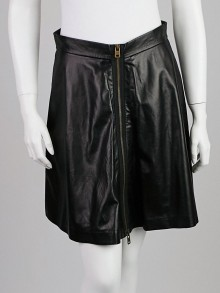 Alexander McQueen Black Lambskin Leather Skirt Size 8/42