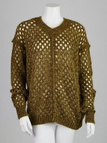 Isabel Marant Olive Mohair and Wool Blend Open-Knit Tiana Pullover Sweater Size 2/36