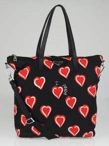 Prada Black/Red Heart Print Tessuto Nylon Shoulder Bag B4696P
