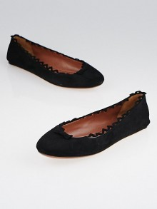 Alaïa Black Suede Scalloped Bow Ballet Flats Size 6/36.5