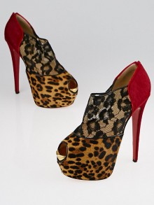 Christian Louboutin Leopard/Red Flame Pony Hair and Lace Aeronotoc 160 Booties Size 9.5/40
