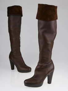 Miu Miu Brown Leather Platform Knee-High Boots Size 6.5/37