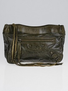 Balenciaga Olive Chevre Leather Trousse Maquillage Cosmetic Pouch