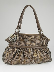 Fendi Brown Metallic Croc-Embossed Canvas Chef Large Tote Bag 8BH186