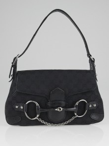 Gucci Black GG Canvas Horsebit Chain Medium Shoulder Bag