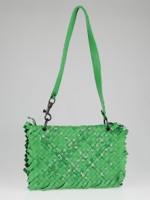 Bottega Veneta Green Tie-Dye Intrecciato Woven Leather Fringed Shoulder Bag