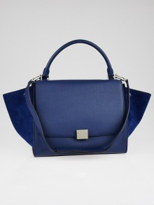 Celine Ocean Blue Drummed Leather and Suede Small Trapeze Bag