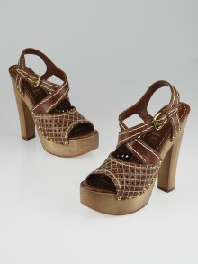 Prada Brown Perforated Leather Studded Cross Strap Platform Sandals Size 9.5/40