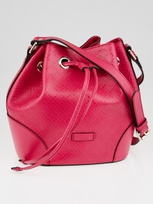 Gucci Hot Pink Diamante Textured Leather Hilary Medium Bucket Bag