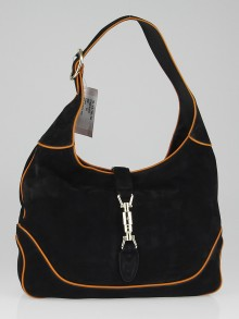 Gucci Black/Orange Nubuck Leather New Jackie Medium Shoulder Bag