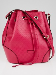Gucci Hot Pink Diamante Textured Leather Hilary Large Bucket Bag